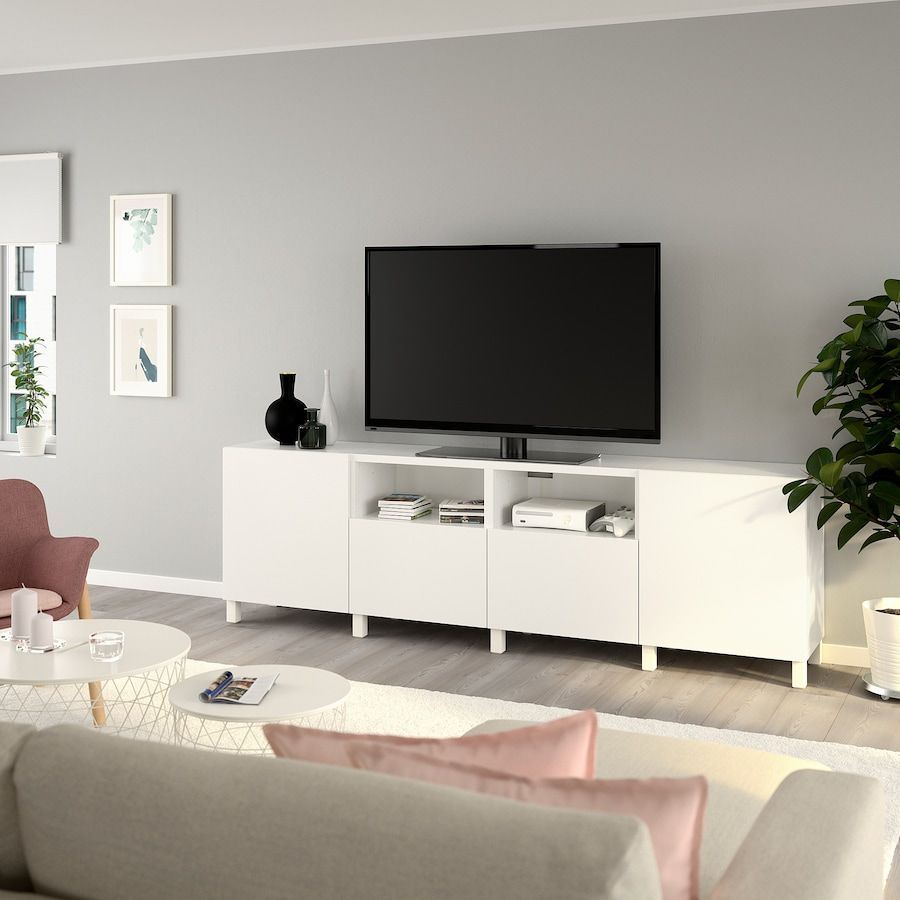 Besta Tv Unit With Doors And Drawers White Lappviken Stubbarp White 240x42x74 Cm Ikea Canada Ikea In 2020 Tv Bench Tv Unit Living Room Tv Stand
