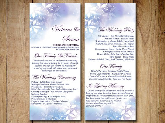 Winter Wedding Program Template Download - Tea Length Program ...