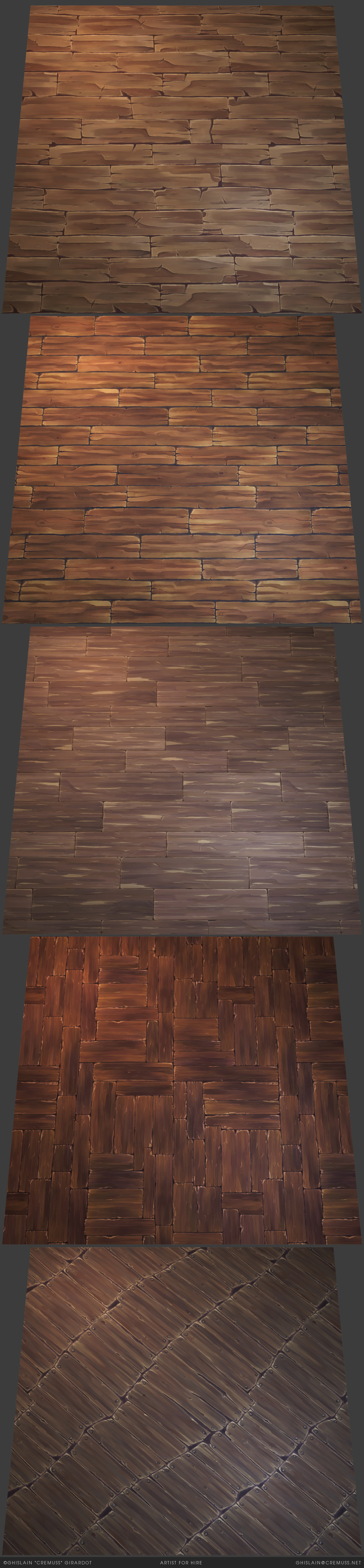 Handpainted stylized wood planks textures Available on sale on