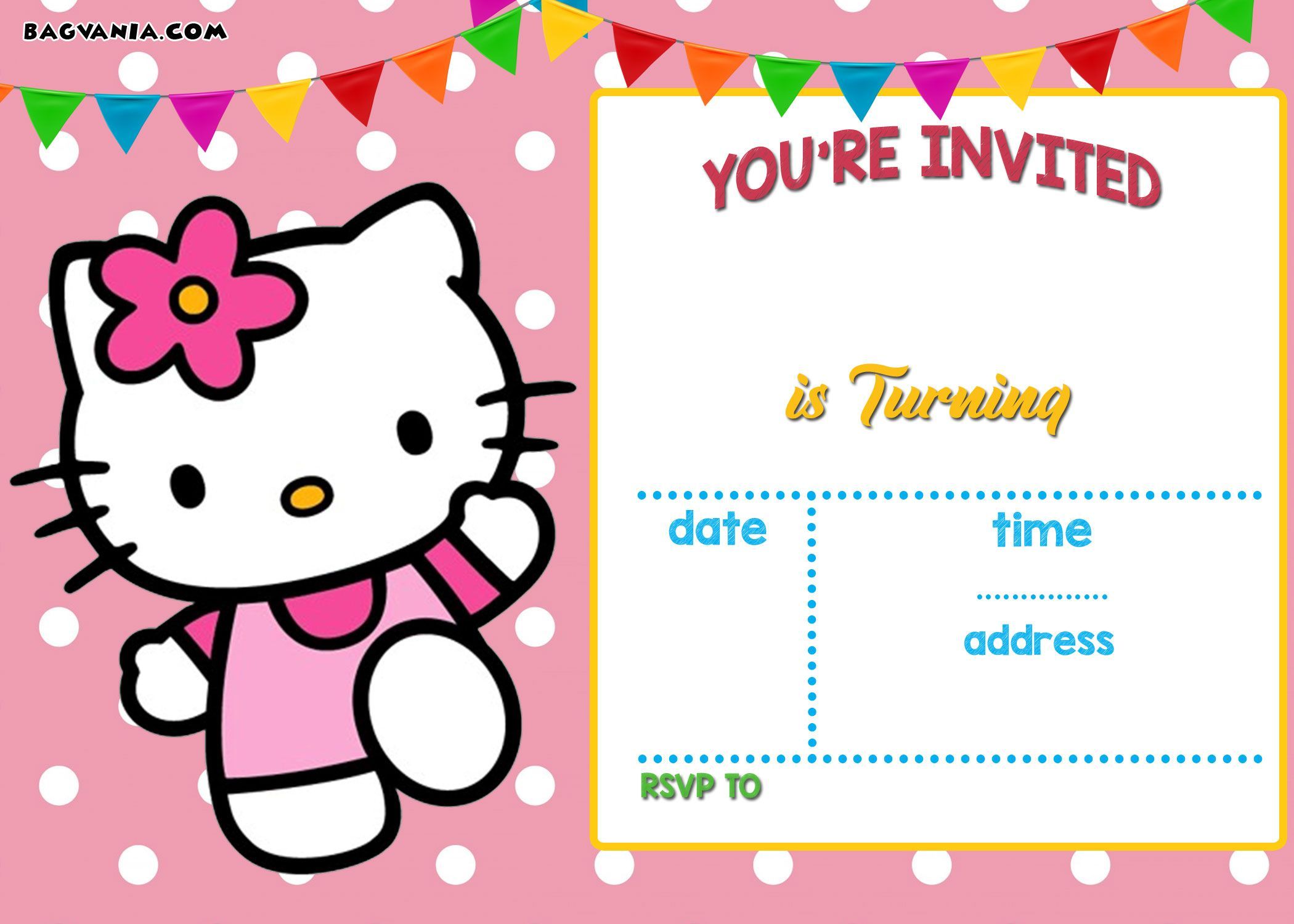 Free Hello Kitty Invitation Templates Hello Kitty Birthday Invitations Printable Birthday Invitations Birthday Card Template Free