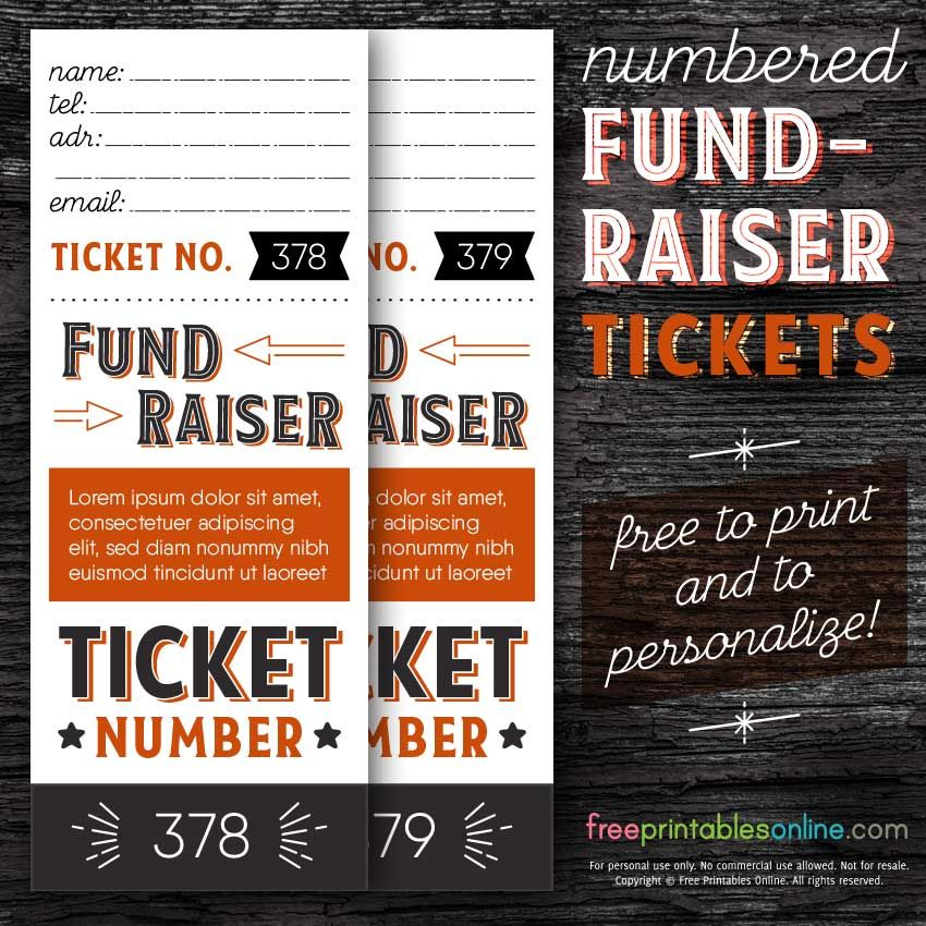 Numbered Fundraising Ticket Template Free Printables Online Fundraising Tickets Custom Raffle Tickets Raffle Tickets Printable