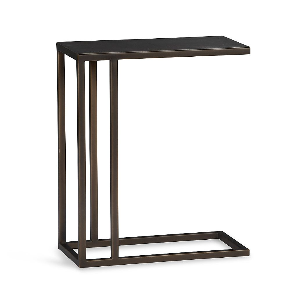 Shop echelon c table sleek in design and intricate in detail the c tables bronze finished top is etched by hand with a fine striated pattern and is