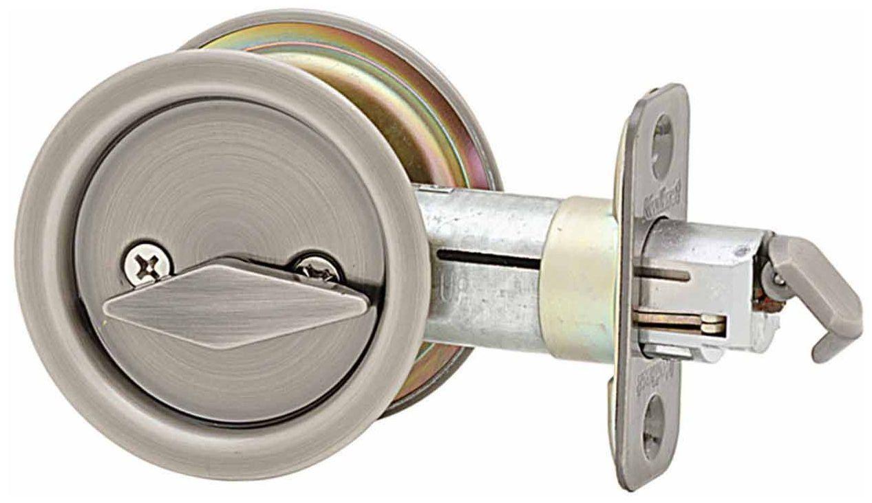 Kwikset 335 Round Privacy Bedbath Pocket Door Lock Antique Nickel