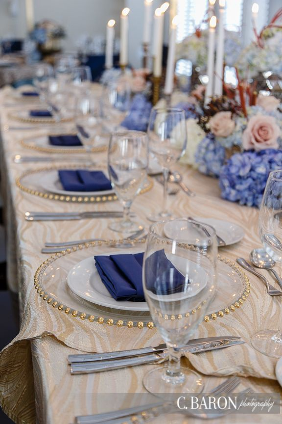 Sandstone Charisma Damask Linen With Gold Glass Beaded Chargers