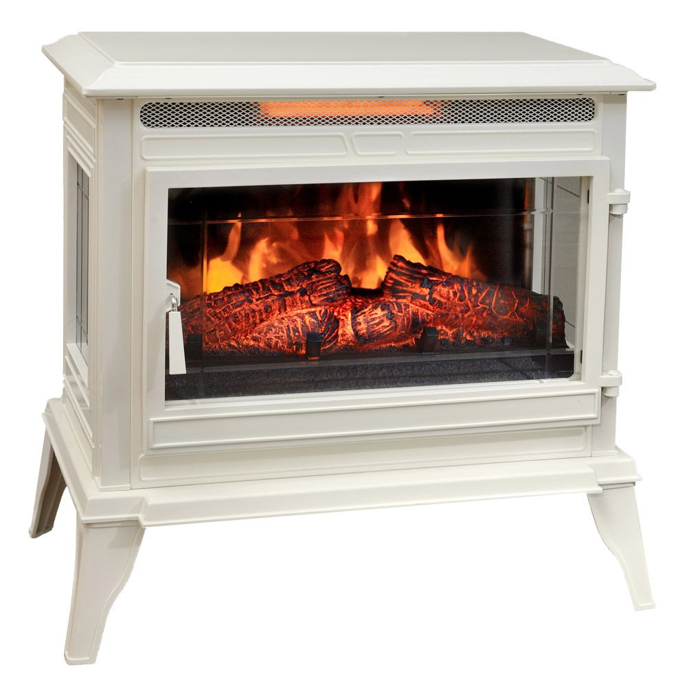 Comfort Smart Jackson Cream Infrared Electric Fireplace Stove With Remote Control Cs 25ir Crm White Electric Fireplace Stove Fireplace Electric Fireplace