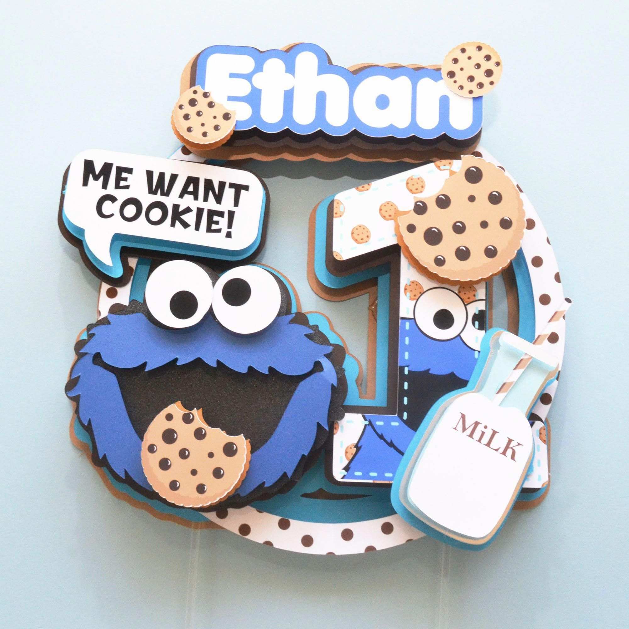 Cookie monster cake topper cookie monster party cookie