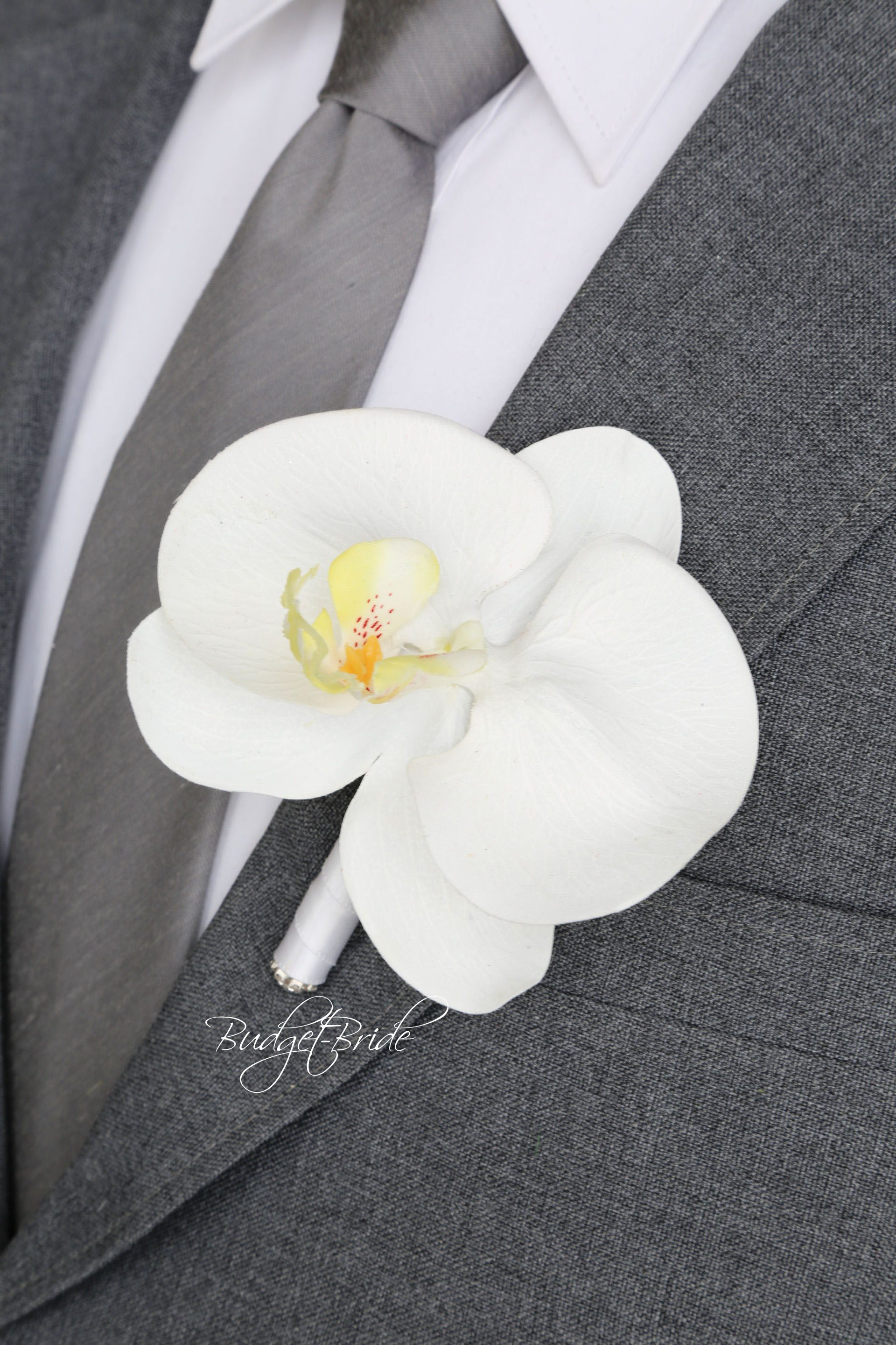 Orchid Davids Bridal Mens Lapel Flower With White Orchid White