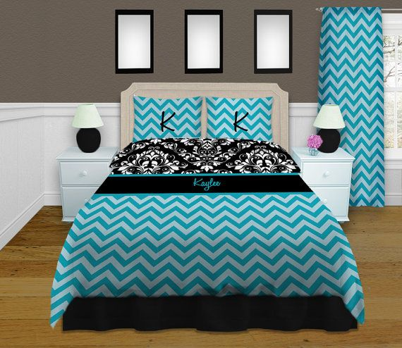 blue chevron bedding, damask bedding, personalized duvet cover