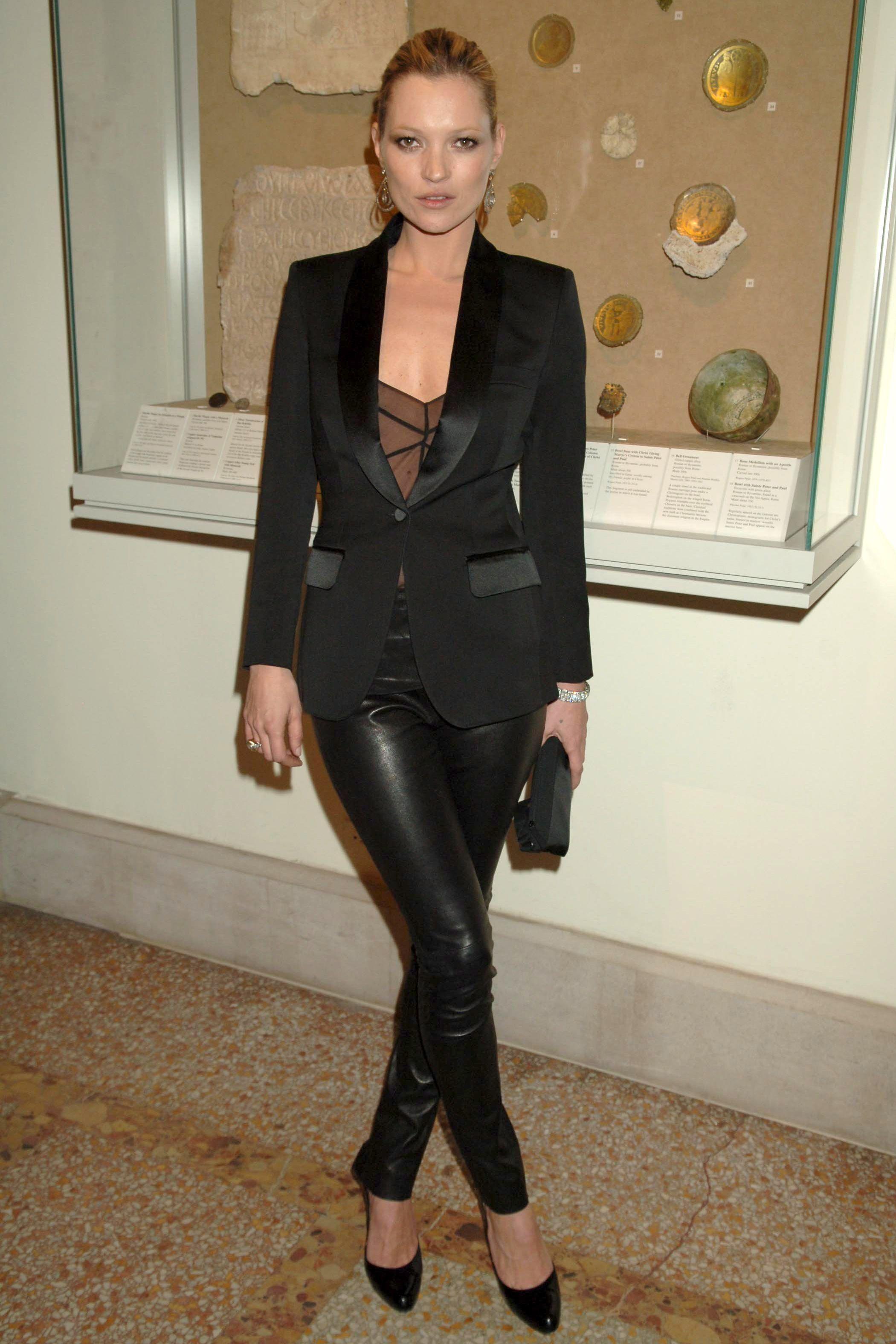 Kate Moss in all black; leather pants, tuxedo jacket & bustier