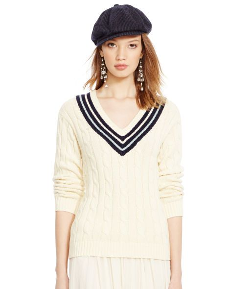 Cricket Polo Ralph Necks Lauren Sweater Neck Cotton V kuXOPZi