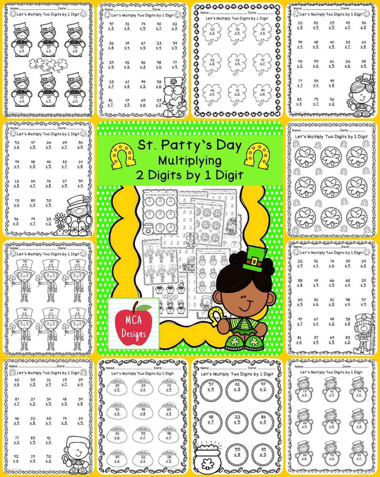 10 Worksheets Multiplying Larger Numbers By 1 Digit