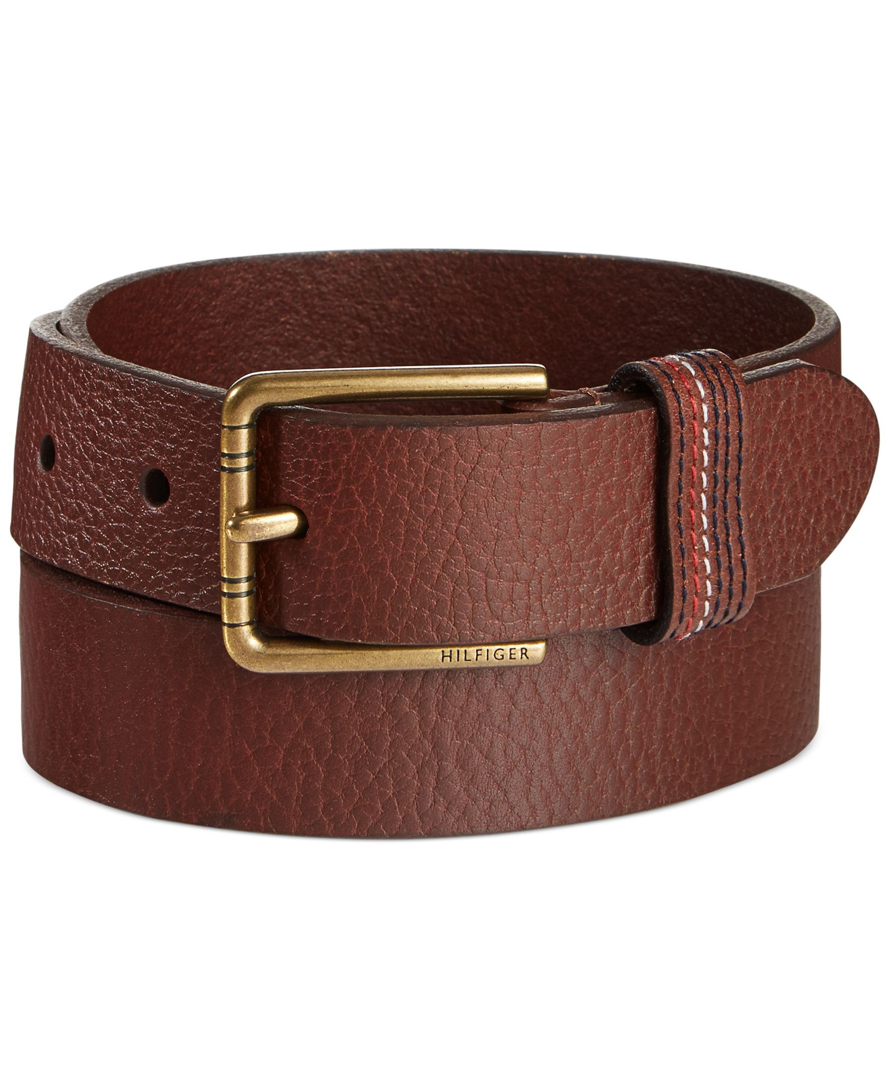20d60b107e63 This belt from Tommy Hilfiger has a textured finish and contrast stitching  at its loop keeper.