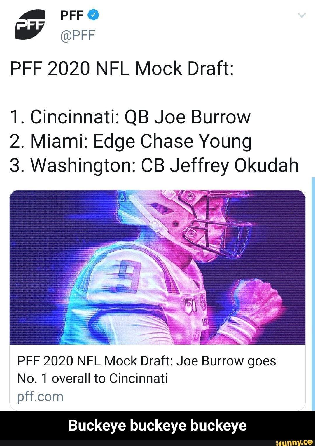 Pff 2020 Nfl Mock Draft 1 Cincinnati Qb Joe Burrow 2 Miami