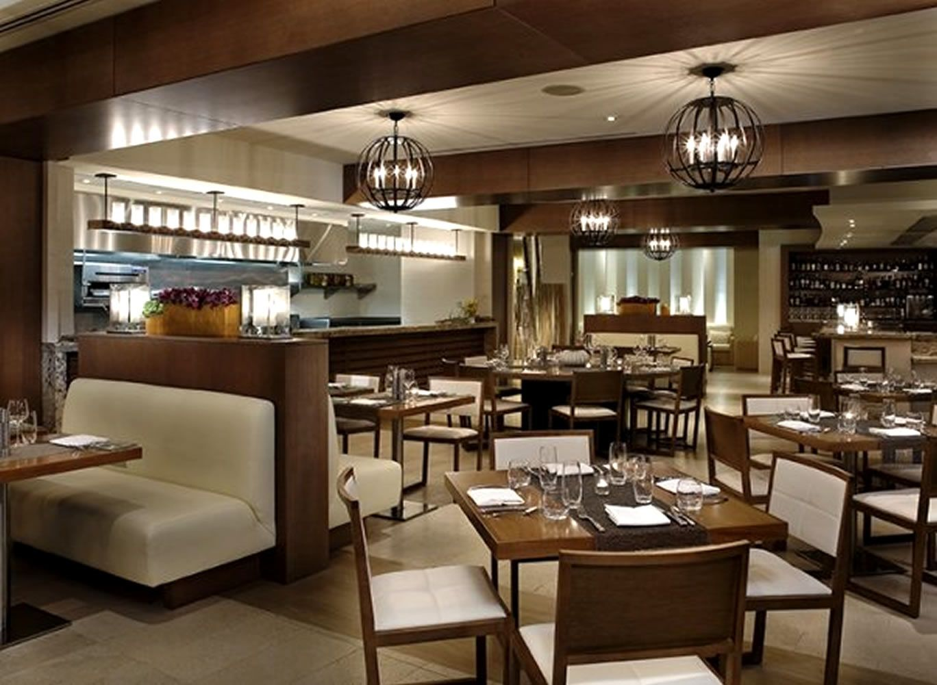 Interior Luxury Restaurant Design Mixed With Wooden Dining Table. Restaurant dining room design