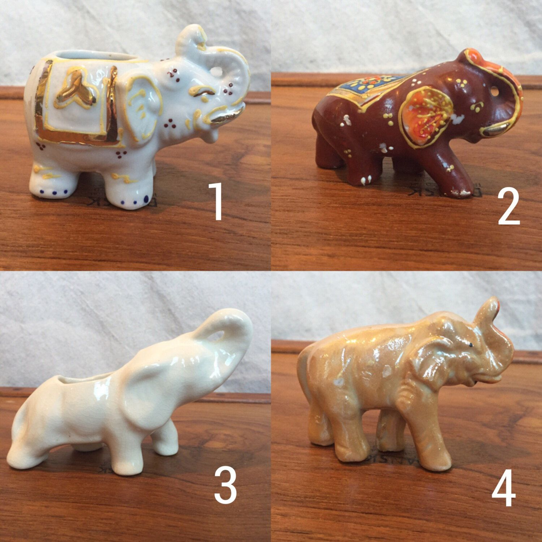 Elephant Figurine Made In Japan Ceramic Elephants White Tan Brown Orange Elephant Planter Toothpick Holder African Elephant By Shhhitsvintage On Ets