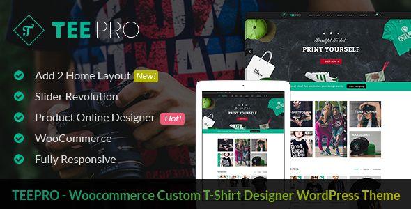 TEEPRO Woocommerce Custom TShirt Designer WordPress Theme - Custom t shirt website template