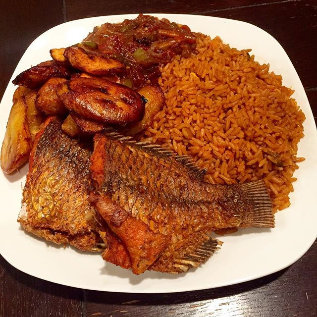 Jollof With Fish And Fried Plantain African Food West African Food Nigeria Food