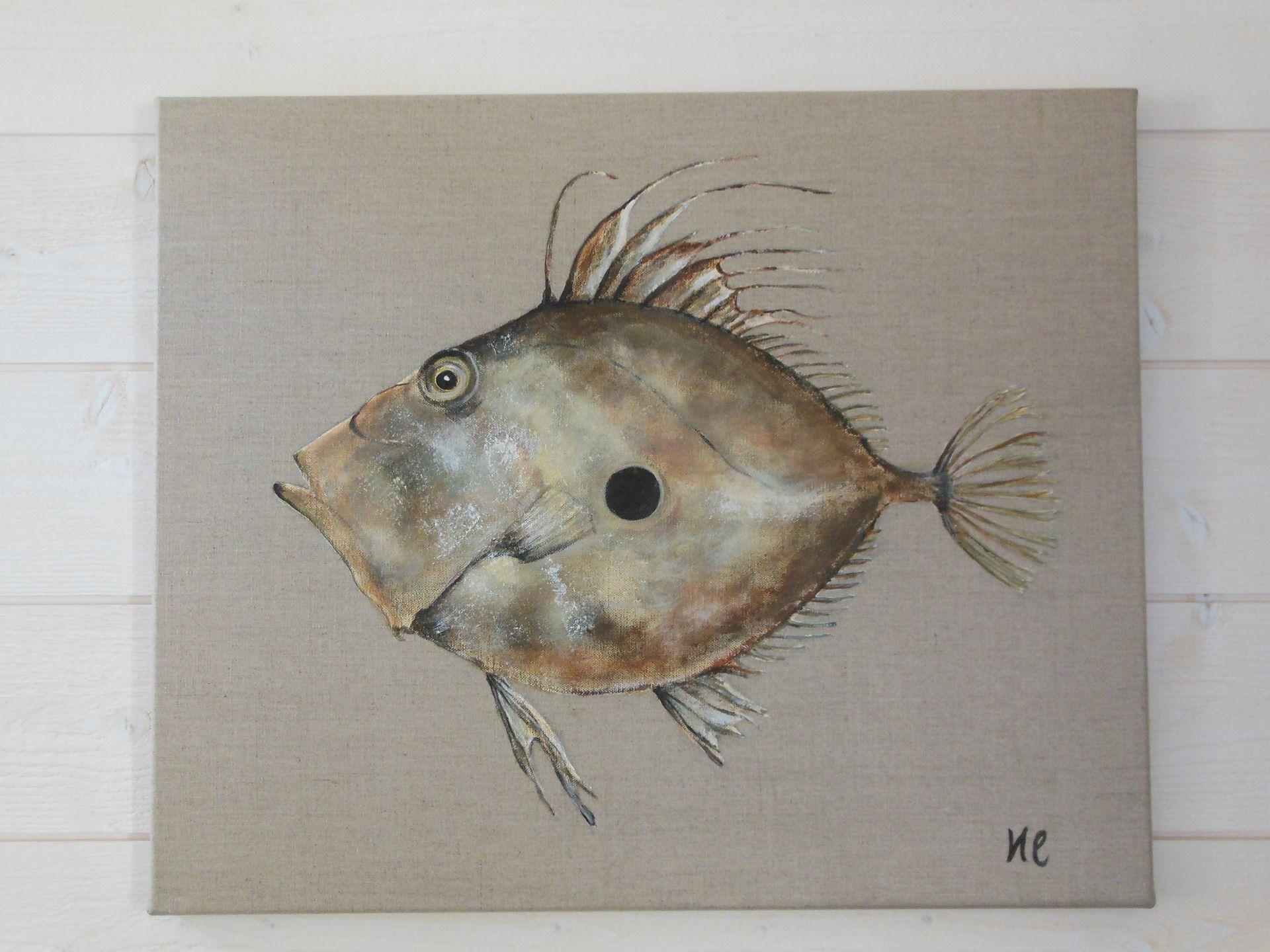 Tableau poisson r serv expo vente peintures animali res for Peinture lin naturel