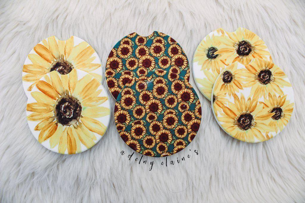Adelyn Elaine's Sunflower Fields Car Coasters