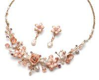 USABride Freshwater Pearl Rose Floral Necklace & Earrings, Wedding Jewelry Set in Gold 595G