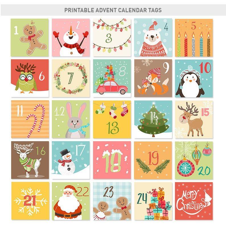 Christmas Advent Calendar Tags Christmas Countdown Calendar Etsy Printable Advent Calendar Christmas Advent Calendar Christmas Countdown Calendar