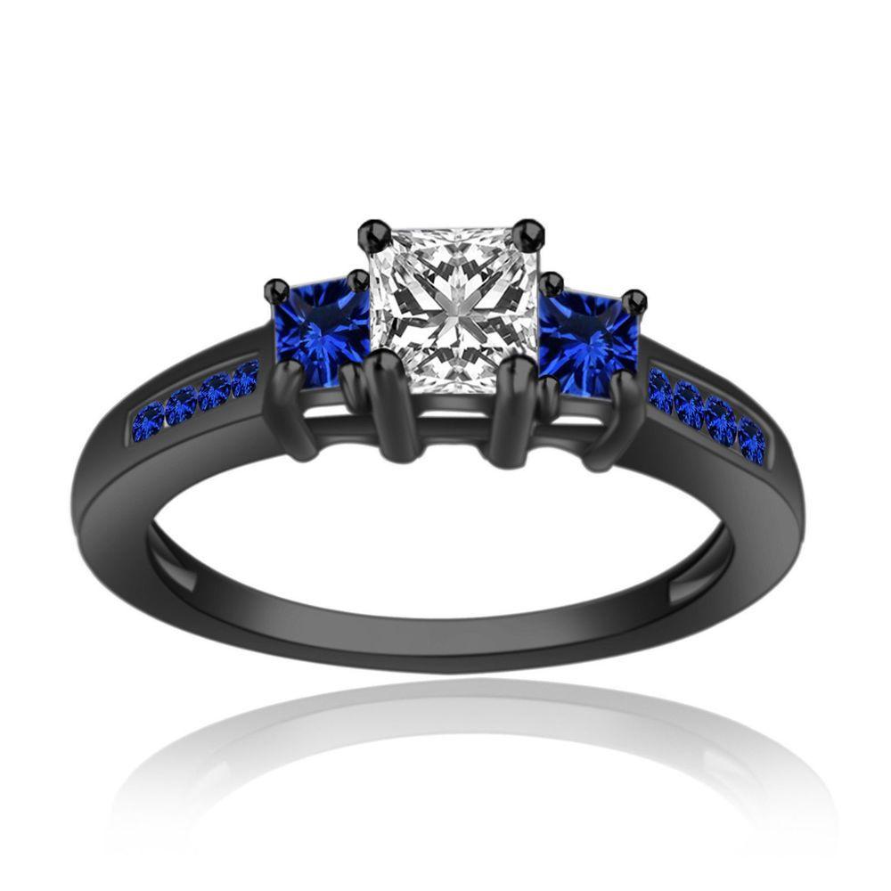 ct sim diamond u sapphire k black gold fn threestone
