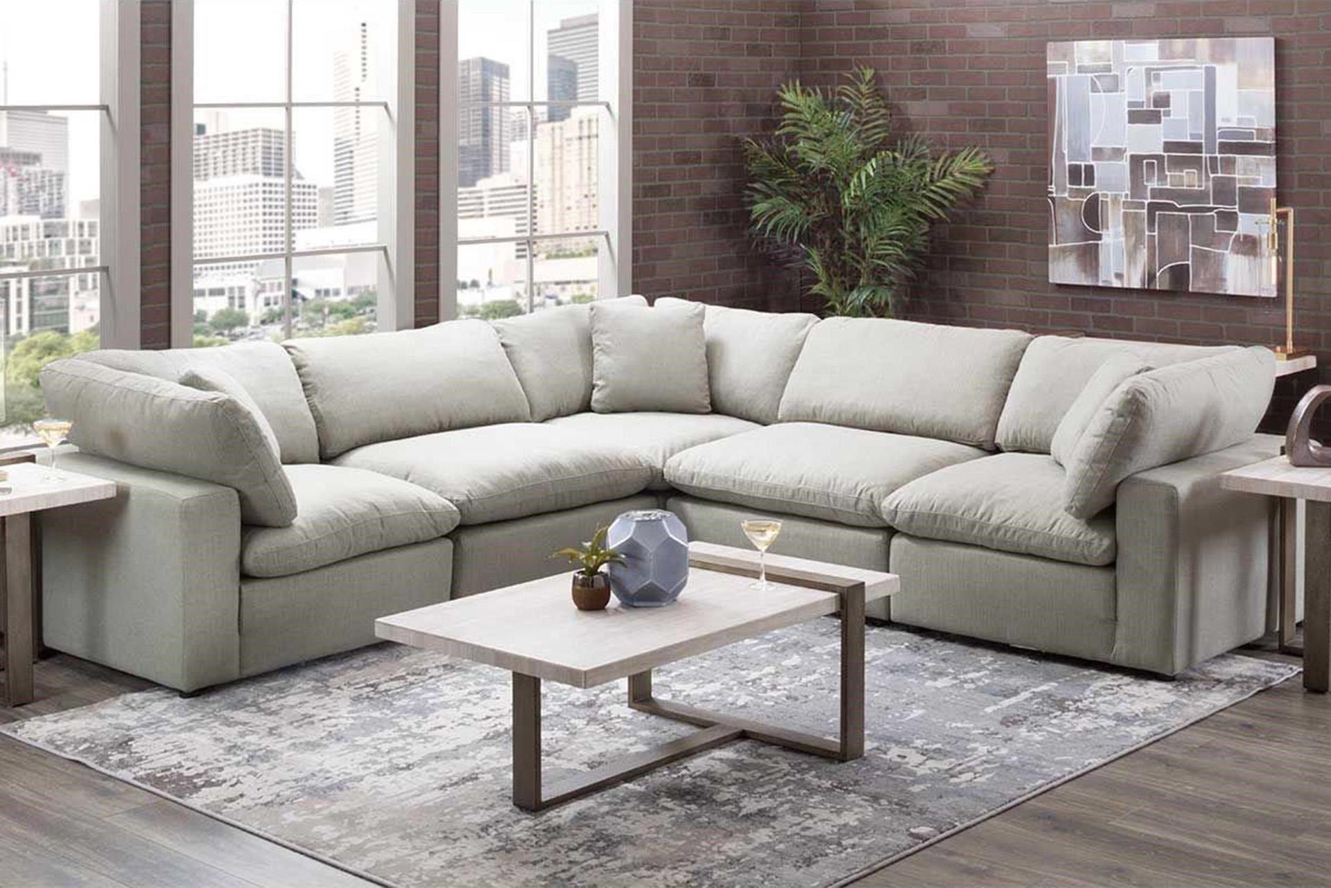 Grey Modular 5 Piece Sectional Fusion Furniture Furniture Condo Living Room