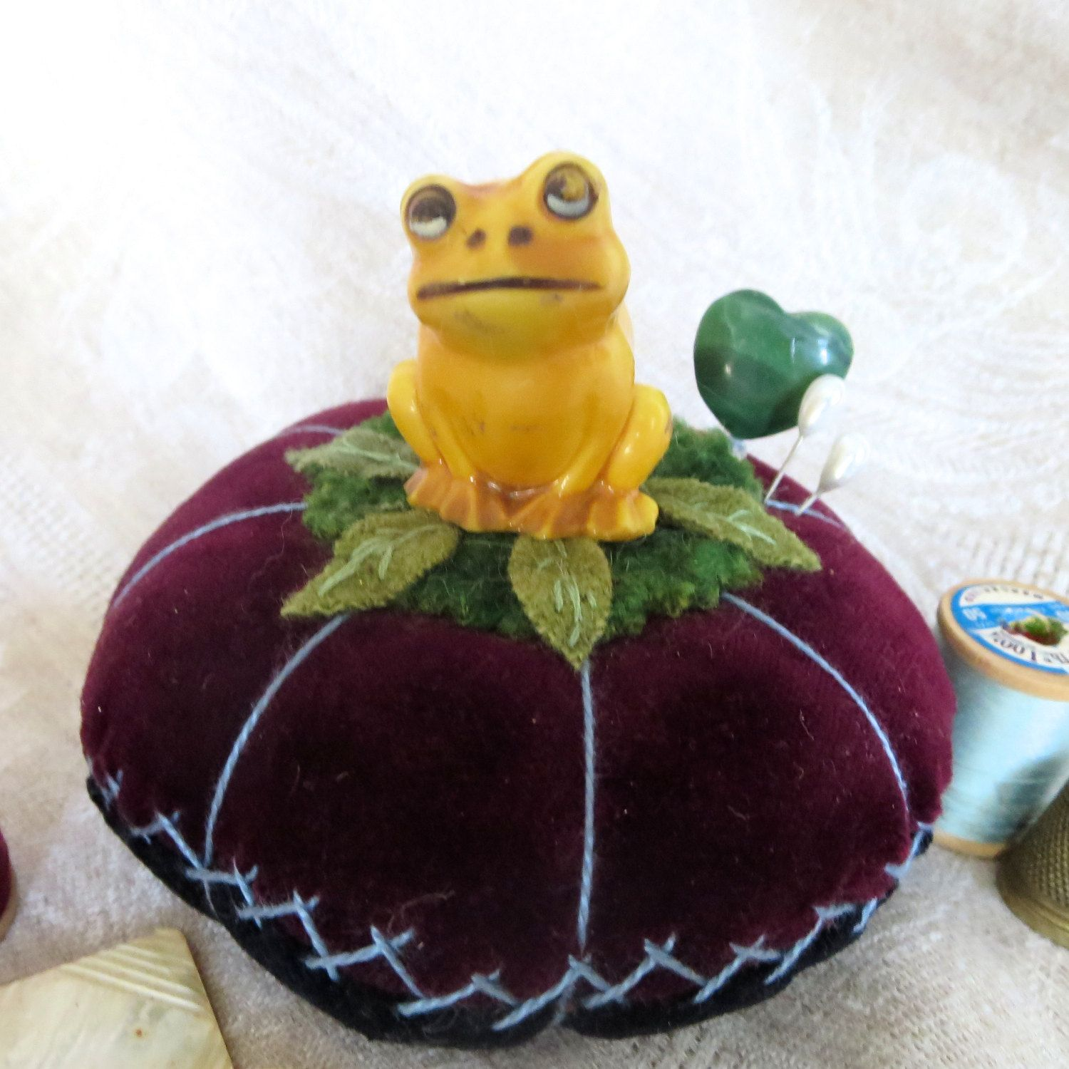 Folkart PINCUSHION with FROG Figurine on Velveteen by MagpieJane