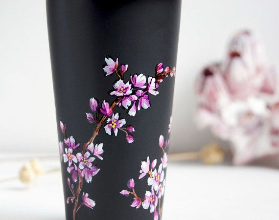 Hand Painted Black Ceramic EcoFriendly Travel Mug by yevgenia