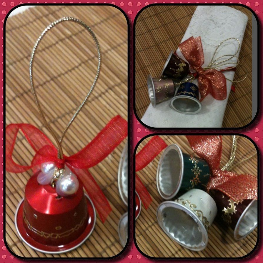 Christmas Bells from my used Nespresso pods! Recycling at it's best...