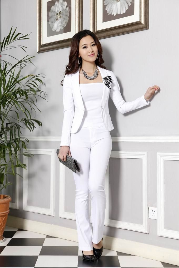 Free shipping office ladies pant suit women set white for Womens white dress suit wedding