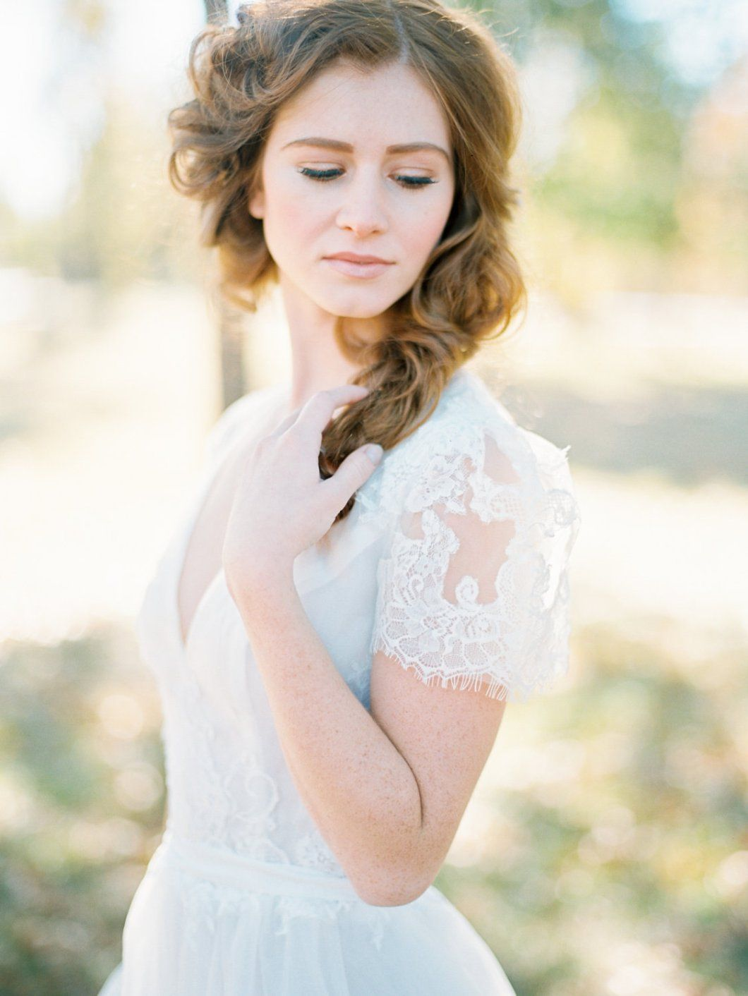 Boho wedding gown with short lace sleeves gowns weddings and