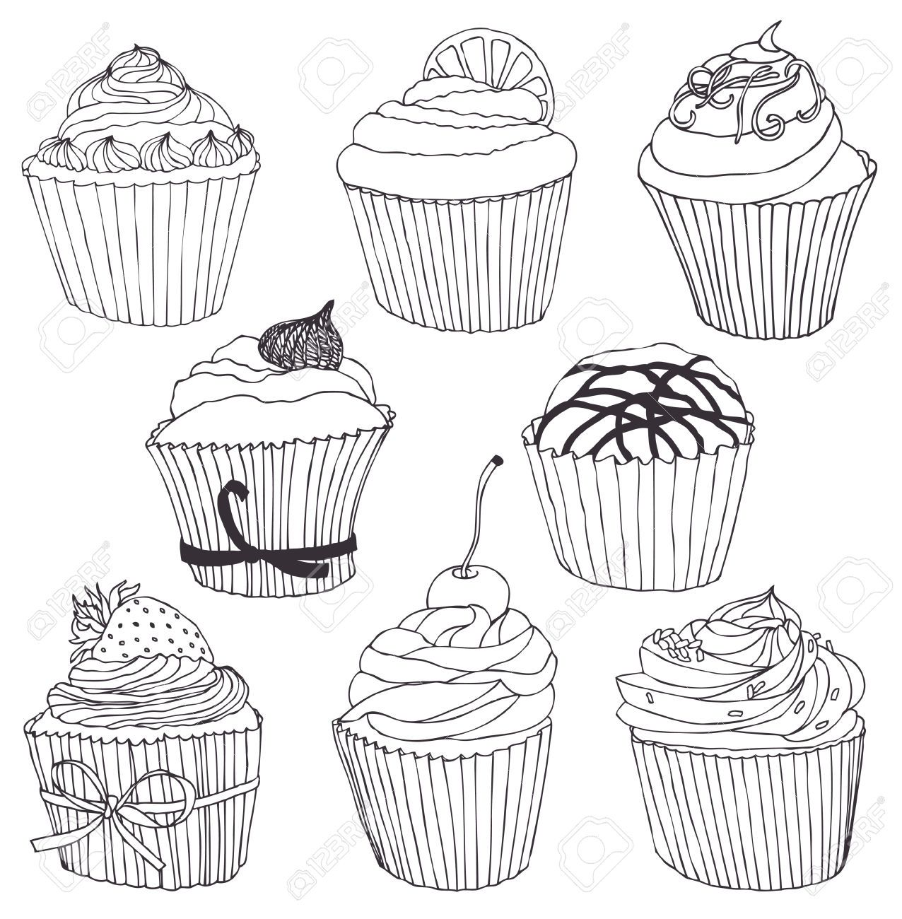 Cupcake Drawing Black And White