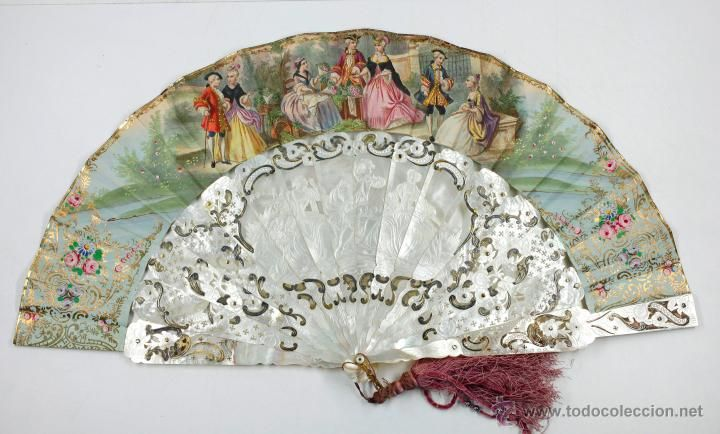 MAGNÍFICO ABANICO DE NÁCAR, CON VARILLAS GRANDES Y TALLADAS, 27 CM DE LARGO. 1850S VER FOTOS ANEXAS (Antigüedades - Moda - Complementos - Abanicos Antiguos)