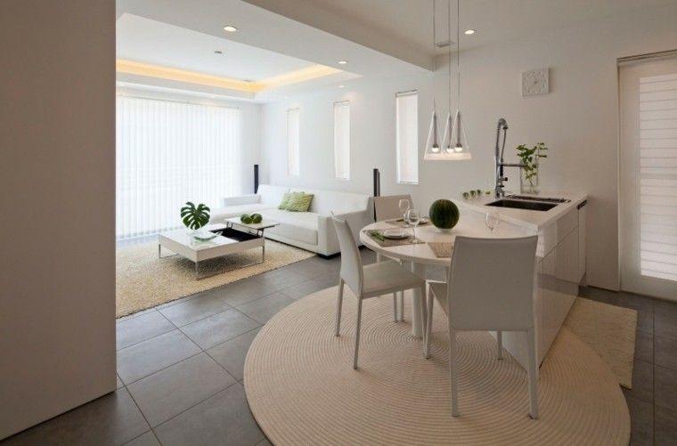 decoración de salones pequenos esilo zen muebles blancos ideas Tus