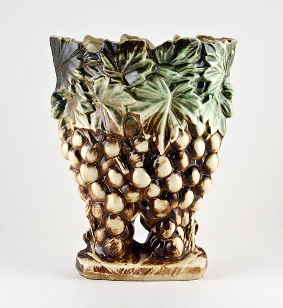 Mccoy Grape Vase With Rare Solid Base Green Brown And Green By