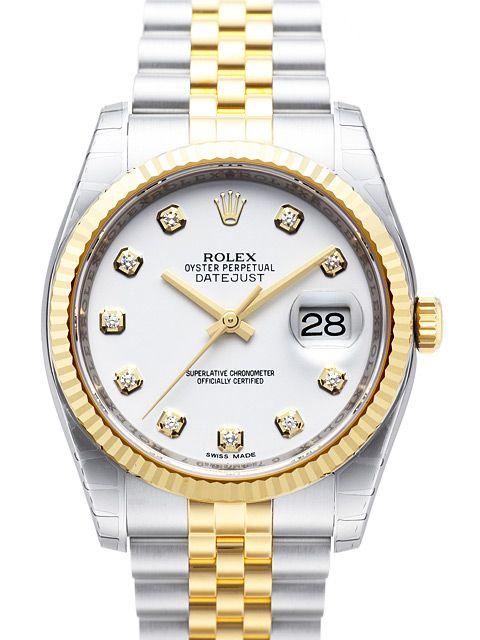 Rolex Datejust 36 116233 Weiß Diamant Jubile-Band