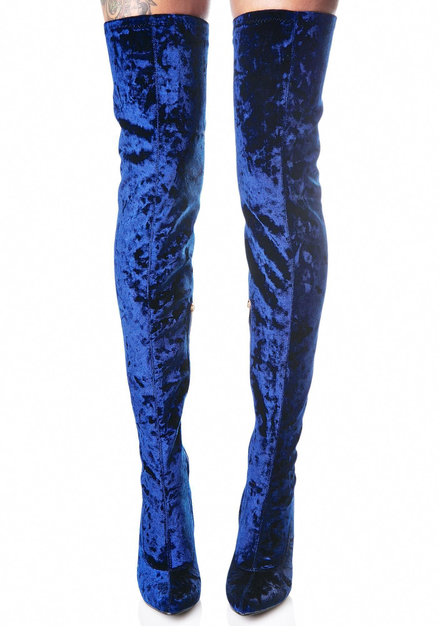 3e856e5db287b Planetary Thigh-High Boots are a vision of beauty across the galaxy, babe.  These ultra sexXxy thigh high boots feature a gorgeous crushed royal blue  velvet ...