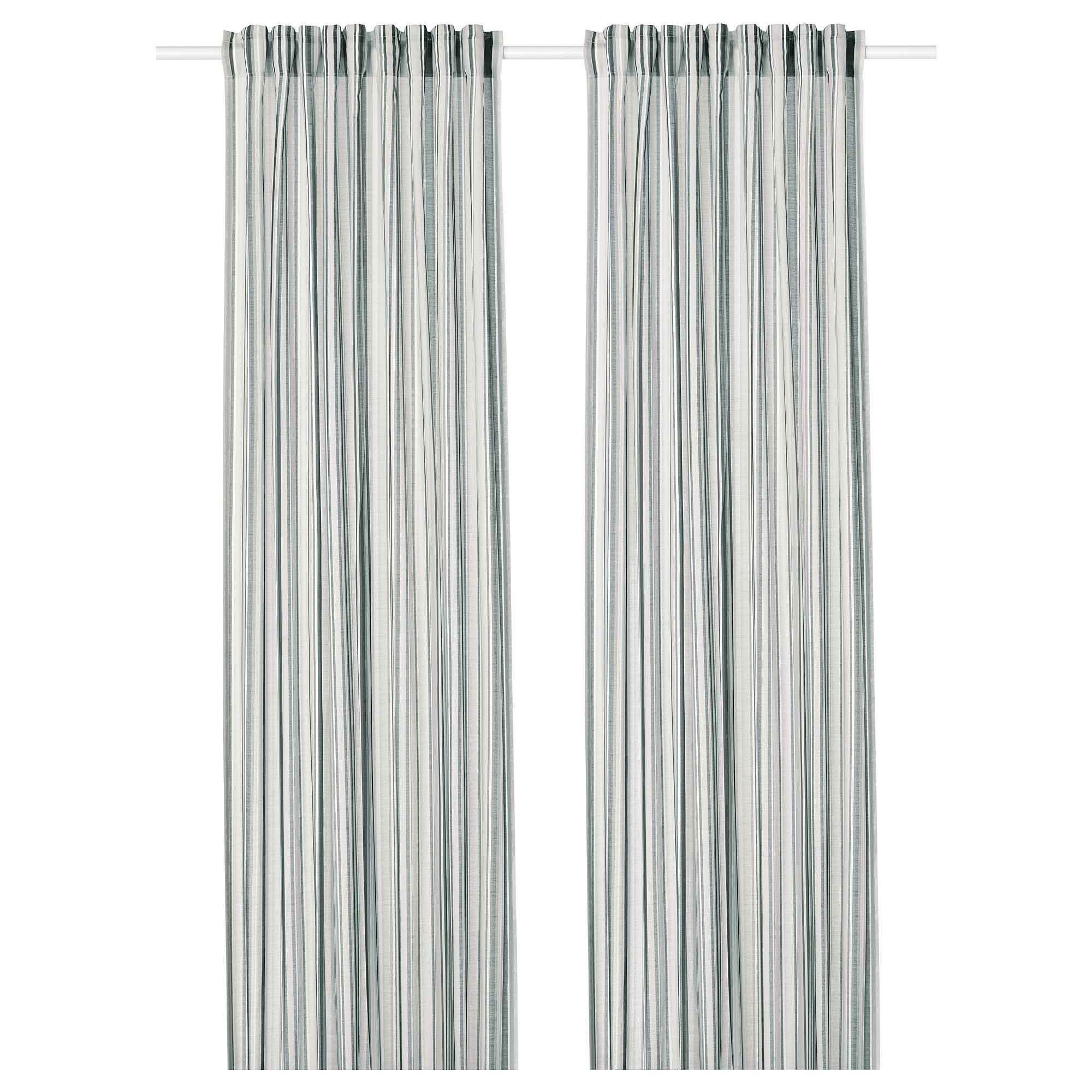Ikea Praktklocka Gray Stripe Curtains 1 Pair Curtains Lace