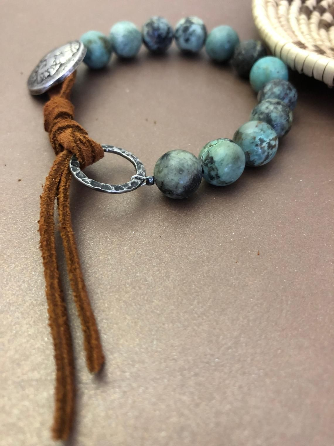 Photo of African Turquoise Bracelet, Matte Jasper Bead Bracelet, Indian Head Nickel Bracelet, Western Leather Bracelet, Cowgirl Jewelry
