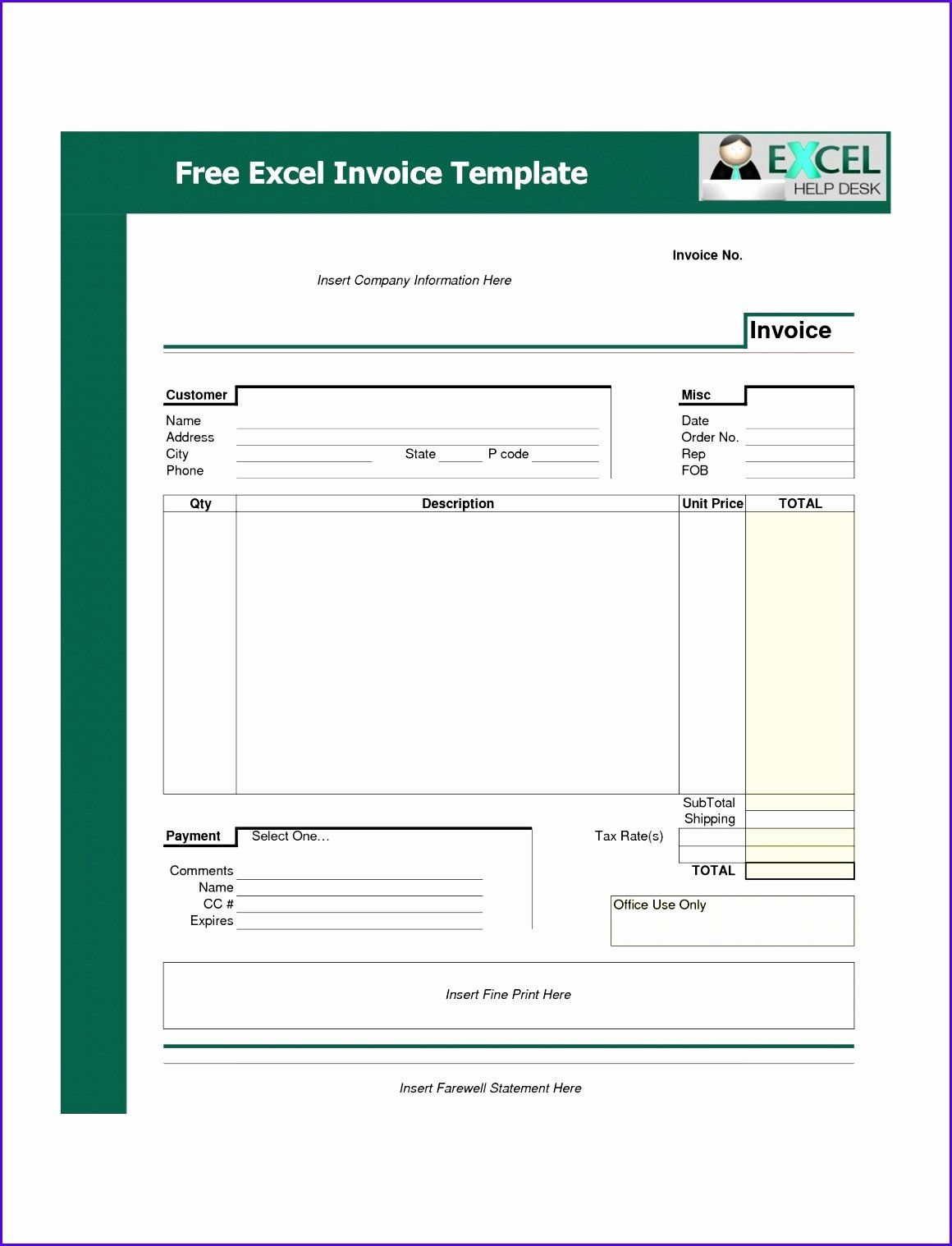 Ms Word Invoice Template Download Elegant 10 Microsoft Excel Invoice Template Free Download Invoice Template Invoice Format In Excel Invoice Template Word