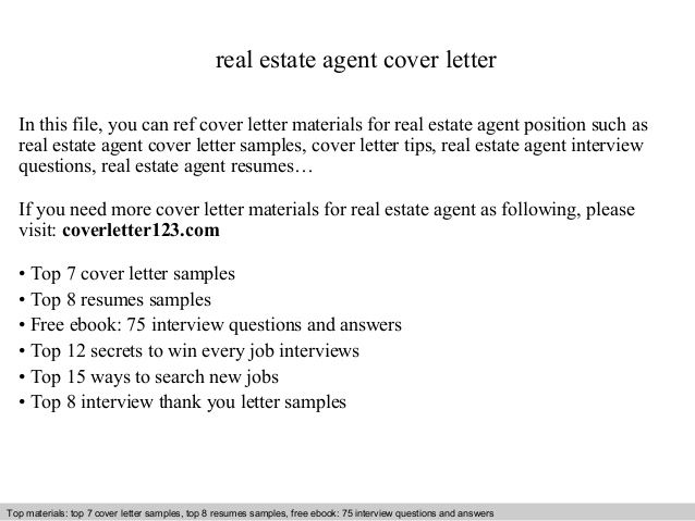 Real Estate Agent Cover Letter This File You Can Ref