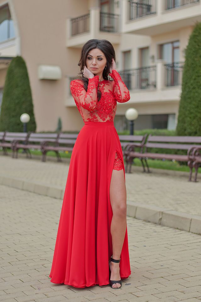 1c5550f5ae Long Flare Prom Dress/Red Prom Dress/Maxi Dress/Long Women's Dresses/Long  Sleeve Dress/Open Back Dress/Evening Dress/Lace and Chiffon Dress #prom2018  ...