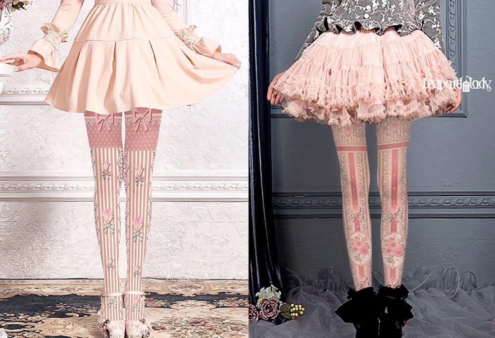 40834f13404 Steampunk Victoriana Lolita Striped Tights Pink Bow + Flowers 2 Designs  Regular