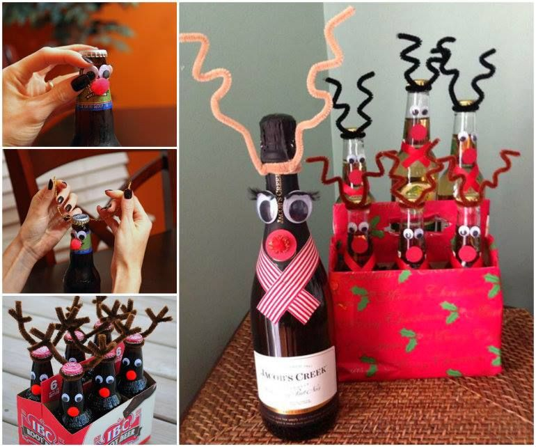 Decorate Beer Bottles For Christmas Reindeer Wine  Beer Bottle For Christmas Gift  Beer Bottles
