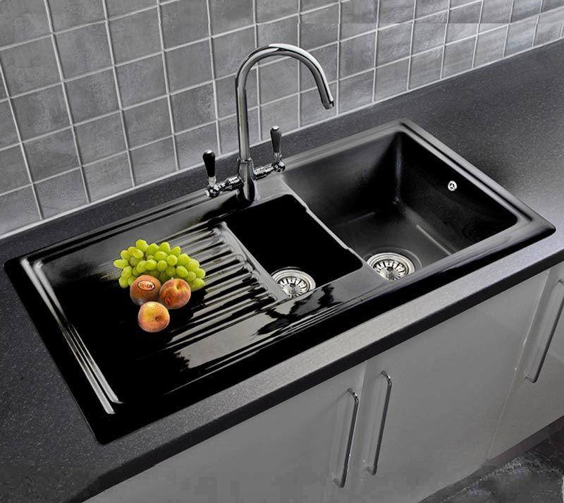 Reginox Rl401cb Black Ceramic 1 5 Bowl Kitchen Sink With Free Reginox Brooklyn Tap