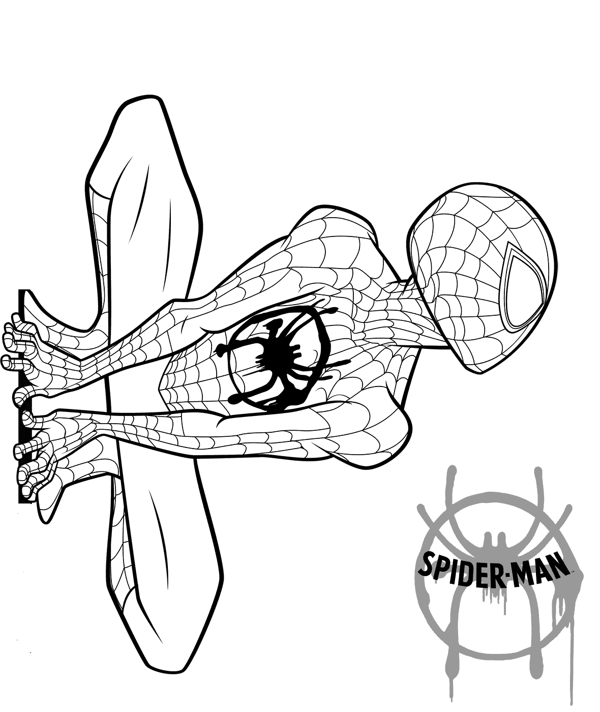 Spider Man Into The Spider Verse Coloring Page  Spiderman