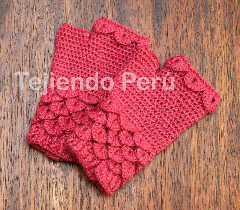 Cómo tejer mitones en punto cocodrilo o escamas a crochet / Crochet ...