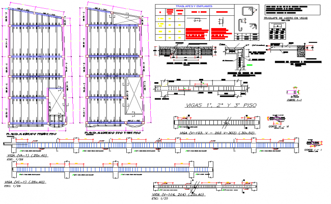 Beam plan and section plan detail dwg file, including reinforcement