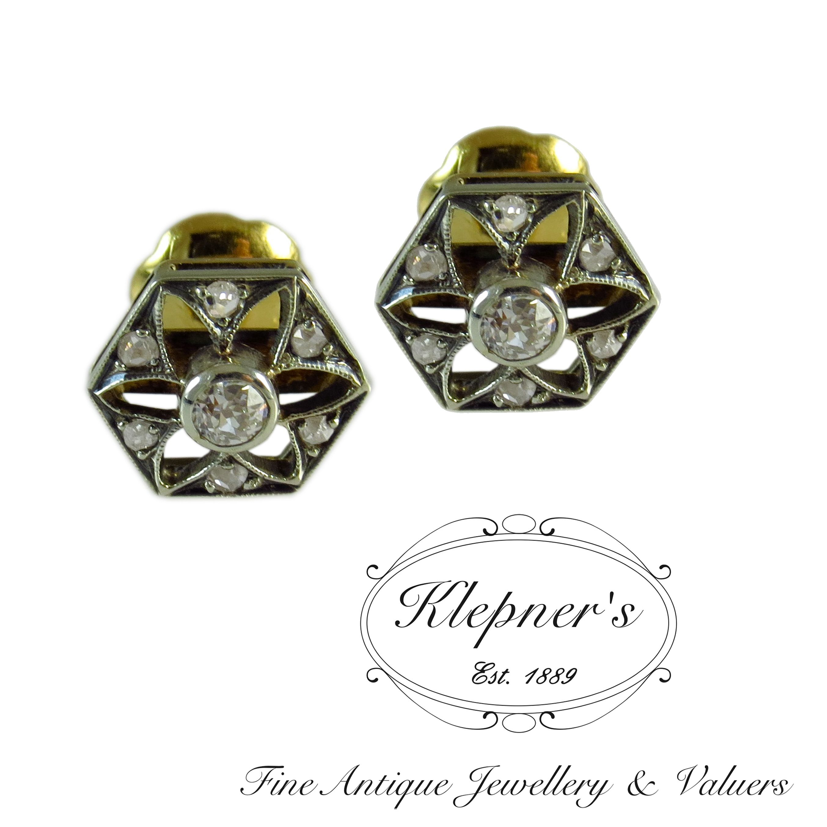 hexagonal thumbnails edwardian to antique diamante mina stud dorado pendientes enlarge click diamond antiguo vieja itm pasador con